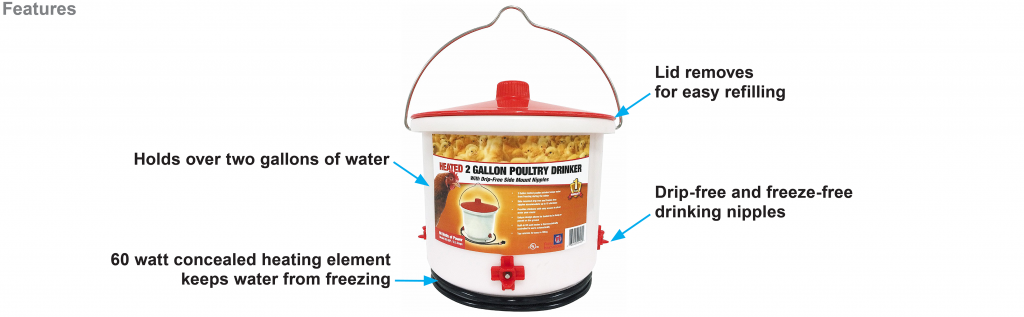 2 gallon heated chicken waterer with nipples