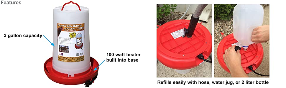 3 gallon heated chicken waterer