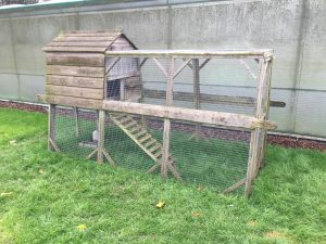 A frame chicken coop with run