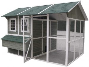large walk in chicken coop with roof